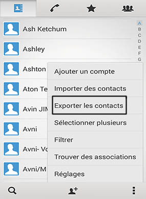 exportez les contacts vers la carte SD